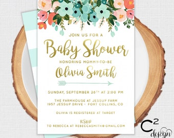 Mint to be Floral Baby Shower Invitation