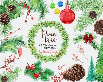 Christmas Cliparts, Pine Tree Watercolor Christmas Clip Art, Christmas Tree, Ornaments, Pinecone Graphics for Personal and Commercial Use