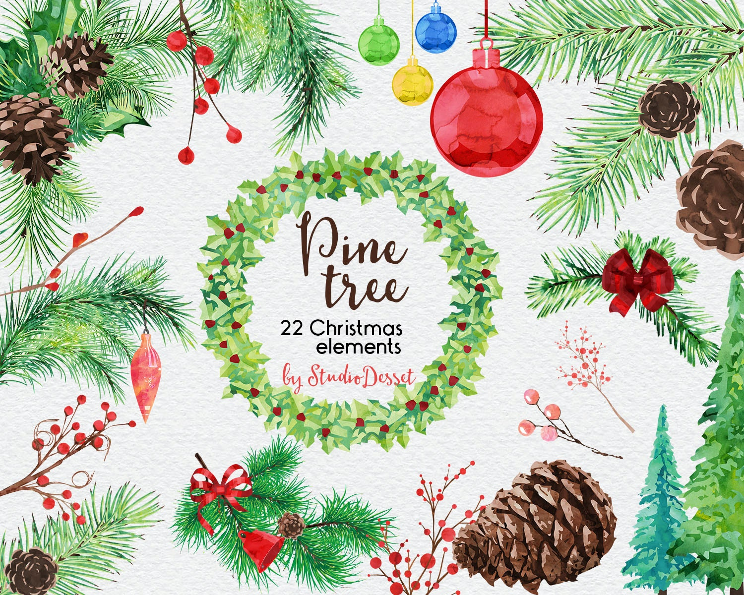 Christmas Cliparts Pine Tree Clipart Watercolor By