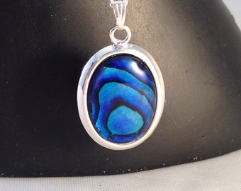 Paua shell pendant necklace on silver plated chain
