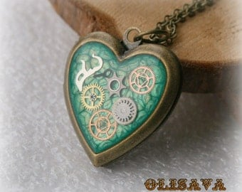 Steampunk Book Heart  pendant /  locket /  Antique Bronze Brass Heart Locket  Pendant , Steampunk jewelry
