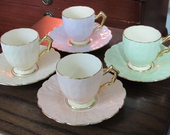 Vintage 1930's Aynsley bone china harlequin coffee set, demi tasse, espresso