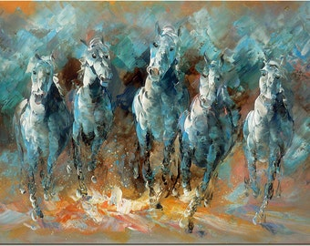Running Horses - Hand Painted Modern Impressionist Horse Painting On Canvas Fine Art CERTIFICATE INCLUDED
