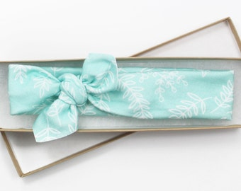 Mint Floral Headband/ Organic Cotton Knotted Headband/ Infant Headband/ Toddler Headband/ Green Headband