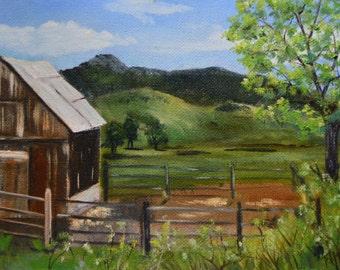 Oil painting original fine art painting barn original oil painting landscape plein air oil paintings homestead mountain painting Colorado