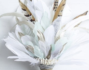 MADE TO ORDER Feather Bouquet with shells