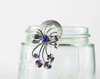 Vintage Sterling Bow Flower Brooch, Bond Boyd Jewelry, Blue Rhinestone Brooch, 1960s Costume Jewelry, Flower Pin, Silver Brooch, Old Jewelry