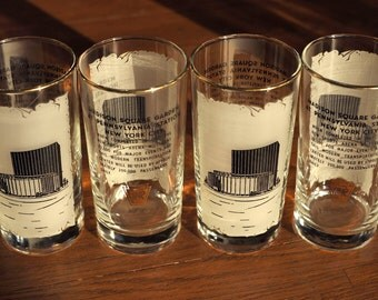 A Set of 4 Vintage 1960's PRR Pennsylvania Railroad Madison Square Garden New York City Logo Old Fashioned Iced Tea Drinking Glasses