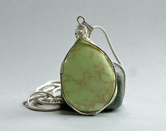 Natural stone Lemon Chrysoprase pear shape pendant silver wire wrapped with necklace