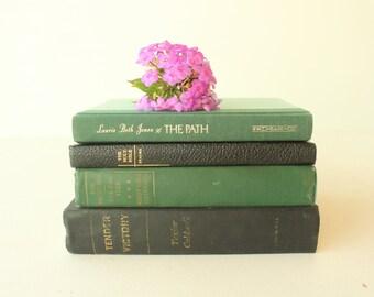 Set of 4 Vintage Books, Green and Black Books, Decorative Book Stack, Book Bundle, Home Decor, Set of Old Books, Vintage Book Set, Green