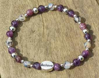 ADDICTION, SERENITY & RECOVERY Bracelet or Anklet for Inner Peace and Calm with Amethyst, Fire Agate, Lepidolite, Platinum and Believe charm