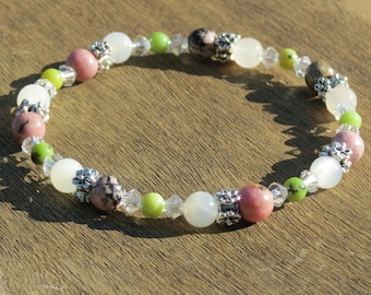 Rhodonite, Moonstone and Chrysoprase Healing Stone Bracelet or Anklet!