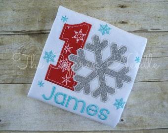 Boys Snowflake Shirt, Snowflake First, First Birthday Shirt, Winter ONEderland, Winter Wonderland, Winter Birthday, Snow Birthday Shirt