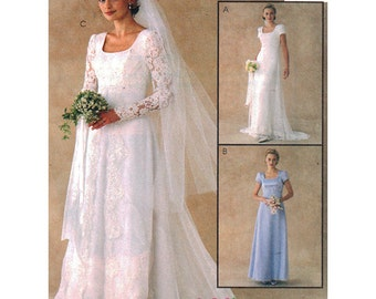 McCall's Sewing Pattern 2028 Misses Wedding Dress, Bridesmaid Dress  Size:  14-16-18  Uncut