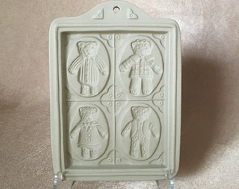 Brown Bag, Cookie Mold, Bear Family Album, 1995 Cookie Art, 4 Teddy Bear Mold, Stoneware Mold, Cookie Baking, Collectible, Holiday Baking
