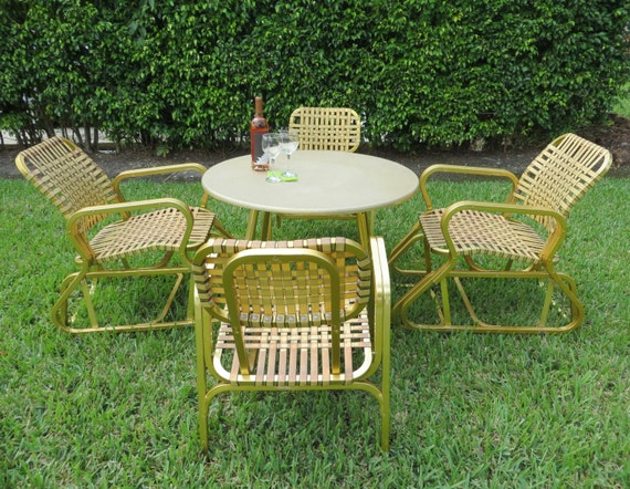 Retro Mid Century Gold Aluminum Strap Patio Set Rare Table