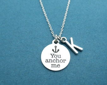 Personalized, Letter, Initial, You anchor me, Anchor, Necklace, Customized, Letter, Birthday, Love, Relationship, Accessory, Gift, Jewelry