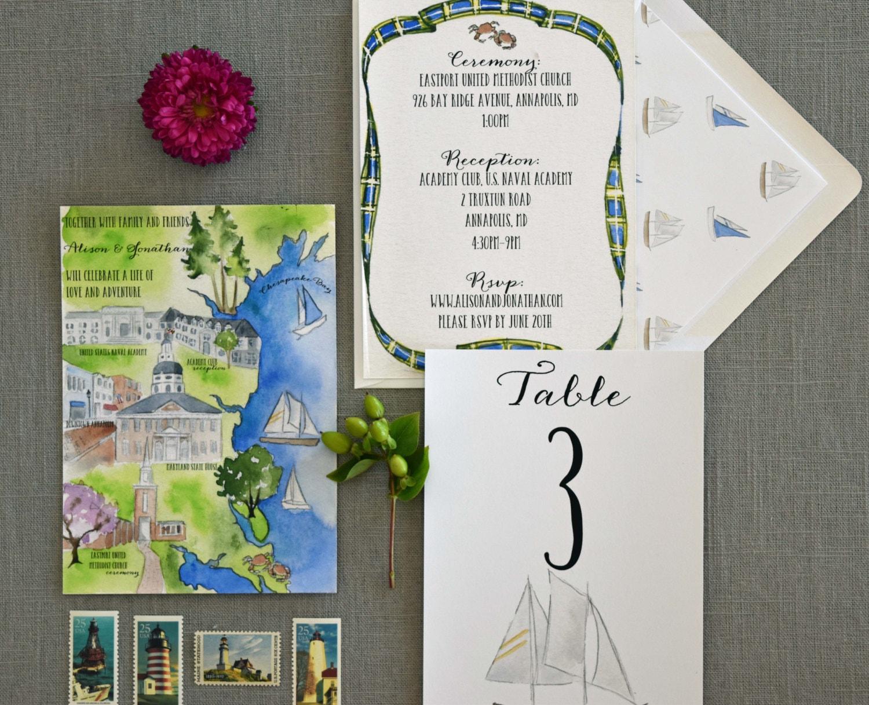 Watercolor Wedding Invitation Custom Map