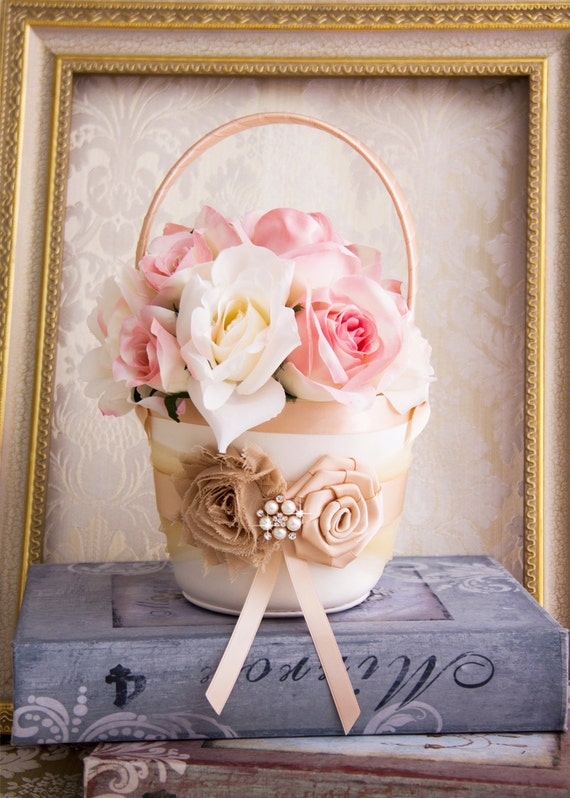 Flower Girl Basket Blush : Flower girls basket champagne and blush girl