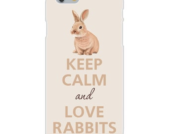 Apple iPhone Custom Case White Plastic Snap On - Keep Calm and Love Rabbits Small Bunny IP - DF - 0241