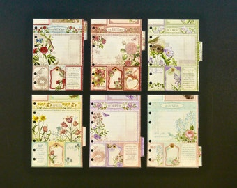 """Monthly laminated dividers - A6 - Jan to Dec - """"There are always flowers"""""""