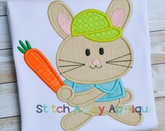 Baseball Bunny Easter Machine Applique Design