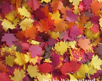 Fall confetti Autumn shadows Maple leaves Wedding throwing table confetti - Biodegradable / orange, red, yellow, burgundy, brown confetti