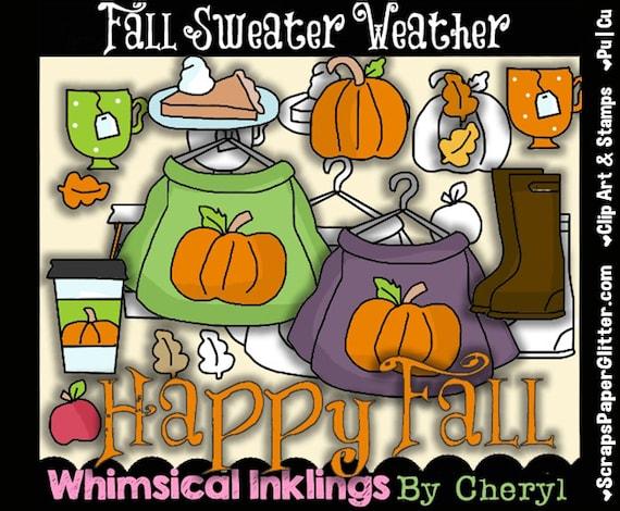 Items similar to Fall Sweater Weather Clip Art, BONUS ...