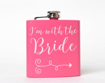 Bachelorette Party Pink Flask - I'm with the Bride