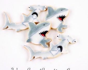 Half Dz. Hammerhead and Great White Shark Cookies! Sea Creatures, Marine Life, Ocean Fish