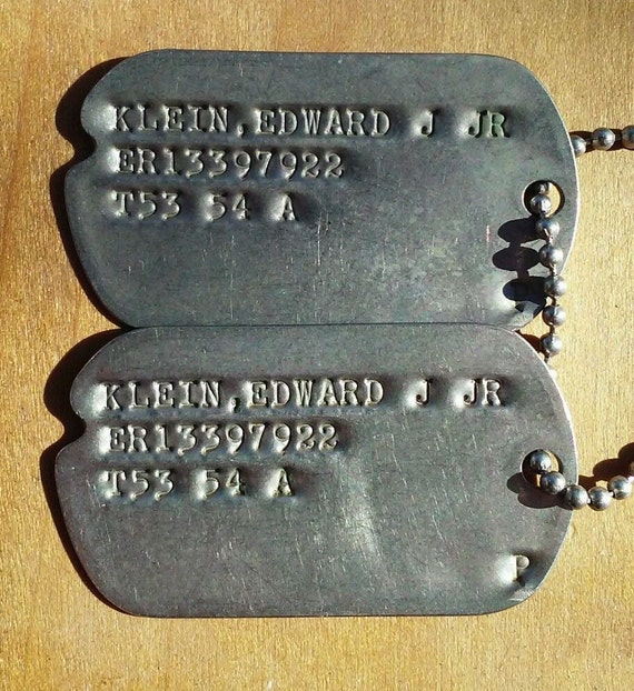 Genuine Korean War Dog Tags Set ER For Enlisted Reserve