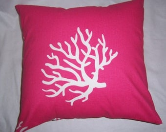 """Premier Print Bright Pink &  White Coral  Pillow Cover 20"""""""