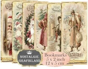 Santa Claus Bookmarks Christmas Instant Download digital collage sheet E190 Vintage Paper