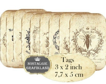 Vintage Bee Tags Instant Download digital collage sheet digital Tag Abeille Insects Honey Miel T135