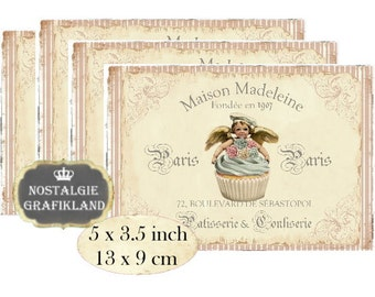 Cupcakes Patisserie Shabby Chic Angels Maison Instant Download printable digital collage sheet P142