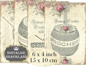 Crochet Needlework Craft Sewing 6 x 4 inch printable organizing Instant Download digital collage sheet D129