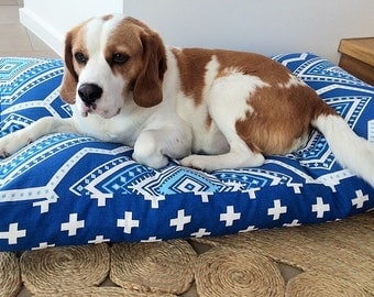 3 SIZES Pet Bed Cover - Cobalt Blue & White