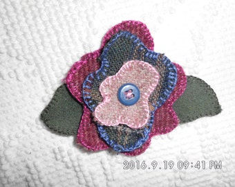 Handmade Felted 100% Wool Flowered Lapel Pin with Button Center.