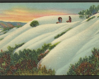 Linen Postcard -  The Great White Sands, A National Monument, Alamogordo, New Mexico ( 1443)