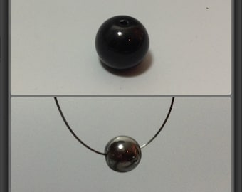 Black tektite bead 8.5mm