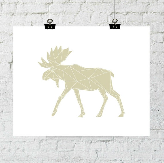 Moose Antler, Moose Decor, Moose Baby, Moose Art, Geometric Neutral Art Print Poster Wall Art, Native Woodland Nursery, Adoption Fundraiser