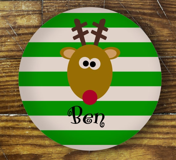 Personalized Dinner Plate or Bowl - Reindeer