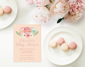 Macaron Baby Shower Invitations / PRINTED Baby Party Invites / Pastel Baby Cards w/ French Macarons / Macaron Tea Party / Pastel Macarons