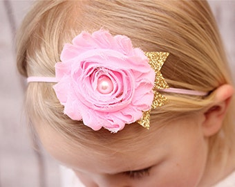 Pink and gold headband - first birthday headband - cake smash headband - newborn photo prop - newborn baby headband - pink and gold glitter