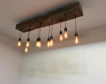 Reclaimed Barn Half Beam Light Fixture/bar/restaurant /home. Edison bulb. Rustic modern industrial