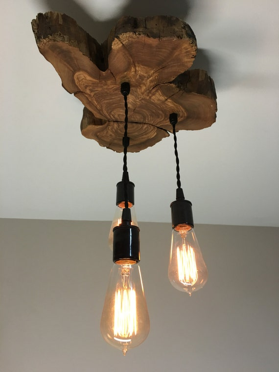 modern live edge olive wood light fixture with 3 lights rustic. Black Bedroom Furniture Sets. Home Design Ideas