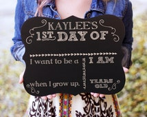 1st day of school Chalkboard Sign, Back to School Chalkboard Sign, Engraved Chalkboard Sign, Back to School Sign --27912-C001-000