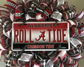 Alabama Crimson Tide Roll Tide Football Sports Door Mesh Wreath