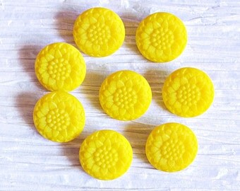 Set of 8 Bright Yellow Glass Flower Buttons ~ 18mm ~ Rare Antique CZECH GLASS BUTTONS ~ Set of 8 Vintage Buttons