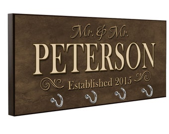 Personalized Mr & Mr Last Name Key Holder - Gay Wedding Gift - Key Rack - Key Hanger - Housewarming Gift - Shower Gift - Anniversary Gift
